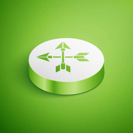 Isometric Crossed arrows icon isolated on green background. White circle button. Vector Illustration