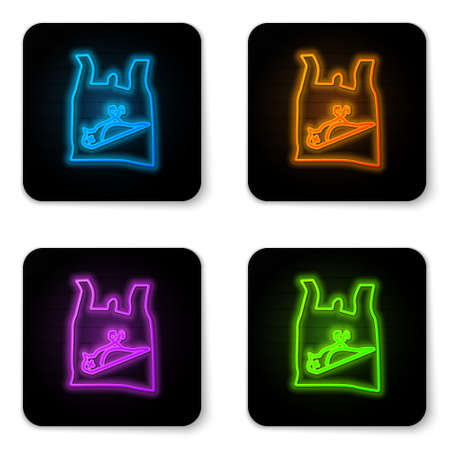 Glowing neon Dead bird, plastic icon isolated on white background. Element of pollution problems sign. Black square button. Vector Illustration