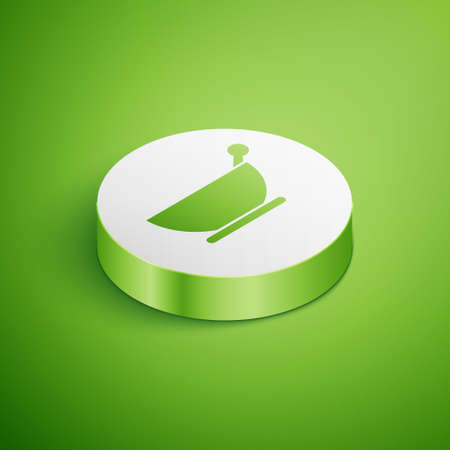Isometric Mortar and pestle icon isolated on green background. White circle button. Vector Illustration