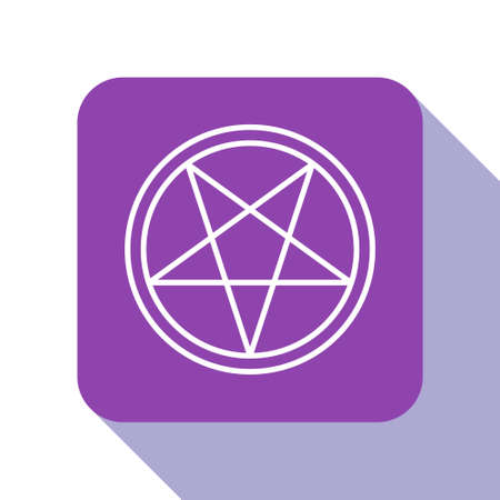White line Pentagram in a circle icon isolated on white background. Magic occult star symbol. Purple square button. Vector Illustration