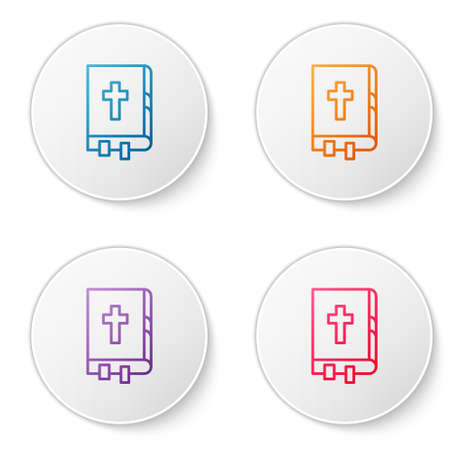 Color line Holy bible book icon isolated on white background. Set icons in circle buttons. Vector Illustration