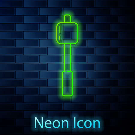 Glowing neon line Marshmallow on stick icon isolated on brick wall background. Vector Illustration 矢量图像
