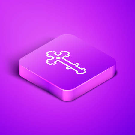 Isometric line Christian cross icon isolated on purple background. Church cross. Purple square button. Vector Illustration 向量圖像