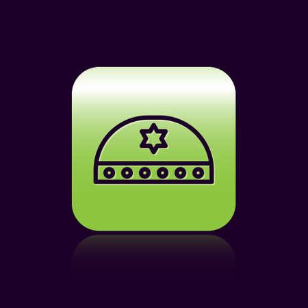 Black line Jewish kippah with star of david icon isolated on black background. Jewish yarmulke hat. Green square button. Vector Illustration