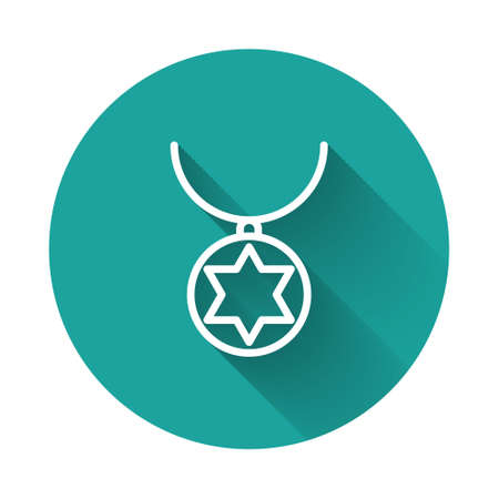 White line Star of David necklace on chain icon isolated with long shadow. Jewish religion. Symbol of Israel. Jewellery and accessory. Green circle button. Vector Illustration Illusztráció