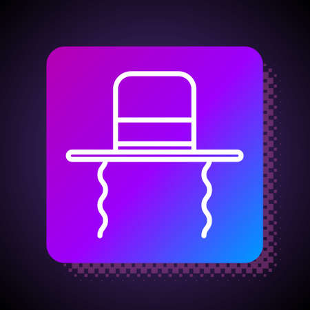 White line Orthodox jewish hat with sidelocks icon isolated on black background. Jewish men in the traditional clothing. Judaism symbols. Square color button. Vector Illustration Illusztráció