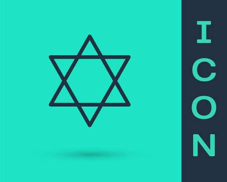 Black line Star of David icon isolated on green background. Jewish religion symbol. Symbol of Israel. Vector Illustration
