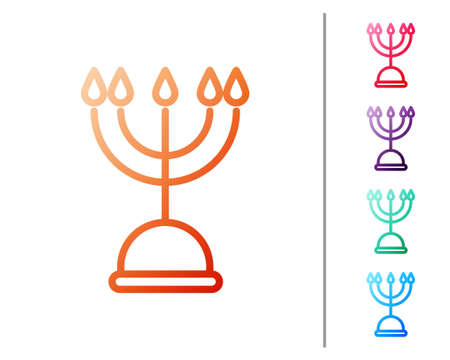 Red line Hanukkah menorah icon isolated on white background. Hanukkah traditional symbol. Holiday religion, jewish festival of Lights. Set color icons. Vector Illustration