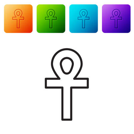 Black line Cross ankh icon isolated on white background. Set icons in color square buttons. Vector Illustration 일러스트
