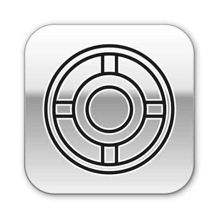 Black line Ashtray icon isolated on white background. Silver square button. Vector Illustration Illustration