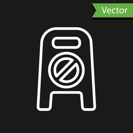 White line Wet floor and cleaning in progress icon isolated on black background. Cleaning service concept. Vector Illustration