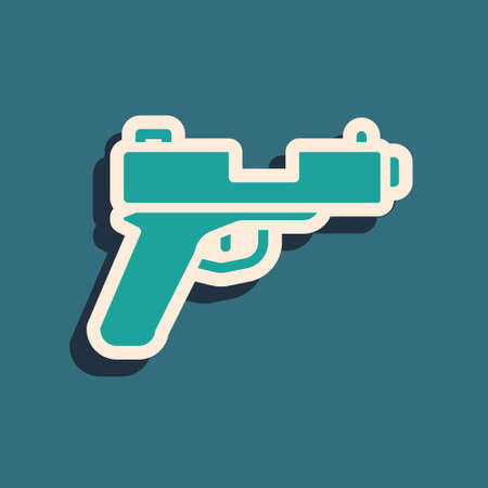 Green Pistol or gun icon isolated on green background. Police or military handgun. Small firearm. Long shadow style. Vector