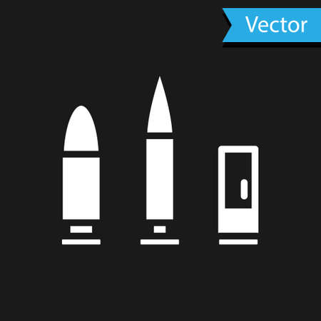White Bullet and cartridge icon isolated on black background. Vector
