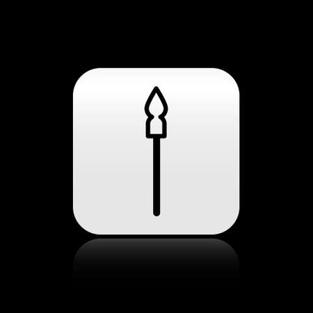 Black Medieval spear icon isolated on black background. Medieval weapon. Silver square button. Vector