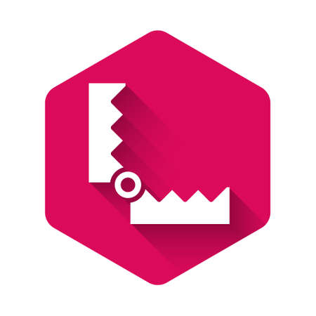 White Trap hunting icon isolated with long shadow. Pink hexagon button. Vector