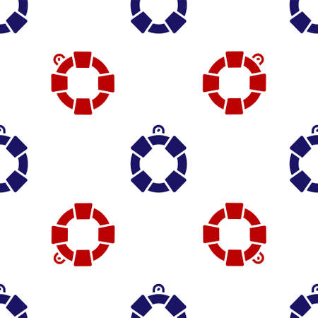 Blue and red Lifebuoy icon isolated seamless pattern on white background. Lifebelt symbol. Vector Stock Illustratie