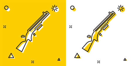Black Shotgun icon isolated on yellow and white background. Hunting gun. Random dynamic shapes. Vector