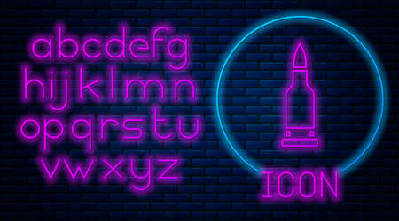 Glowing neon Bullet icon isolated on brick wall background. Neon light alphabet. Vector