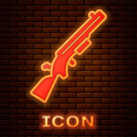 Glowing neon Shotgun icon isolated on brick wall background. Hunting gun. Vector