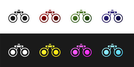 Set Binoculars icon isolated on black and white background. Find software sign. Spy equipment symbol. Vector