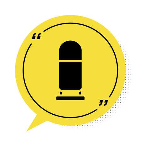 Black Bullet icon isolated on white background. Yellow speech bubble symbol. Vector Ilustracja