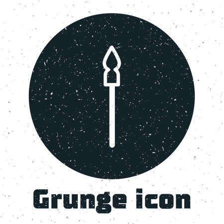 Grunge Medieval spear icon isolated on white background. Medieval weapon. Monochrome vintage drawing. Vector