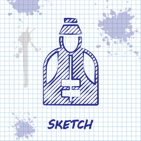 Sketch line Fisherman icon isolated on white background. Vector