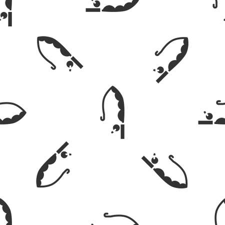 Grey Fishing rod icon isolated seamless pattern on white background. Catch a big fish. Fishing equipment and fish farming topics. Vector Ilustrace