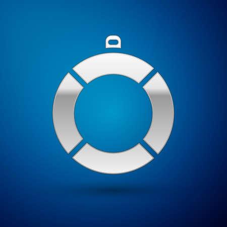 Silver Lifebuoy icon isolated on blue background. Lifebelt symbol. Vector Stock Illustratie