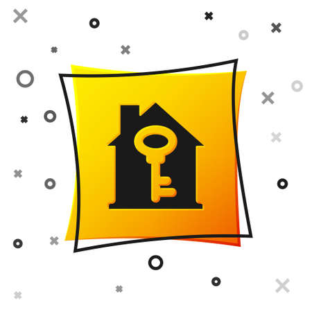 Black House with key icon isolated on white background. The concept of the house turnkey. Yellow square button. Vector