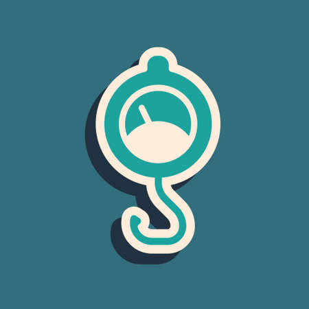 Green Spring scale icon isolated on green background. Balance for weighing. Determination of weight. Long shadow style. Vector