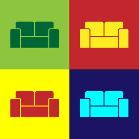 Pop art Sofa icon isolated on color background. Vector Stock Illustratie