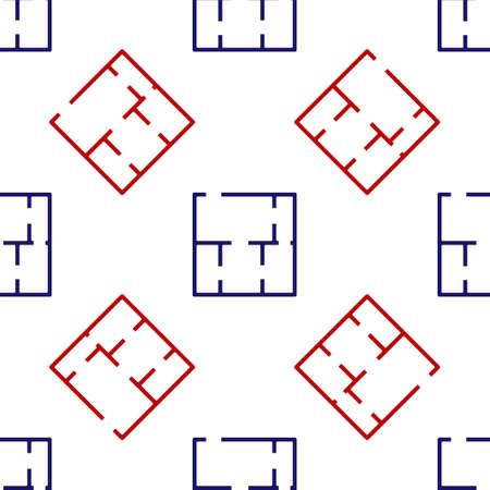 Blue and red House plan icon isolated seamless pattern on white background. Vector Stock Illustratie