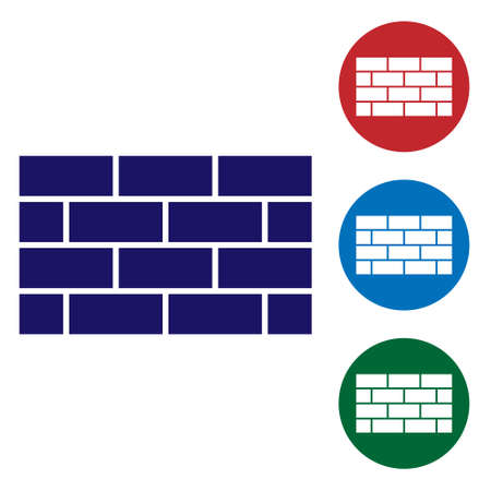Blue Firewall, security wall icon isolated on white background. Set icons in color square buttons. Vector Stock Illustratie