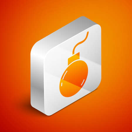 Isometric Bomb ready to explode icon isolated on orange background. Silver square button. Vector