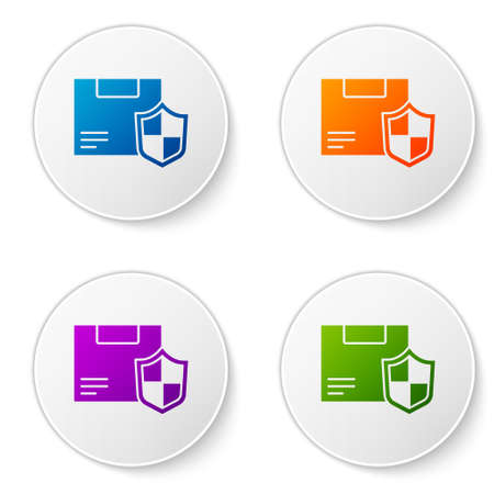 Color Delivery security with shield icon isolated on white background. Delivery insurance. Insured cardboard boxes beyond the shield. Set icons in circle buttons. Vector.