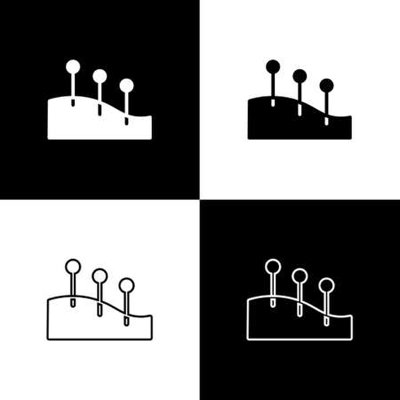 Set Acupuncture therapy icon isolated on black and white background. Chinese medicine. Holistic pain management treatments. Vector