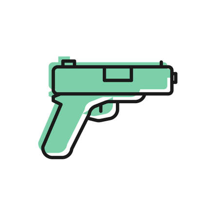 Black line Pistol or gun icon isolated on white background. Police or military handgun. Small firearm. Vector