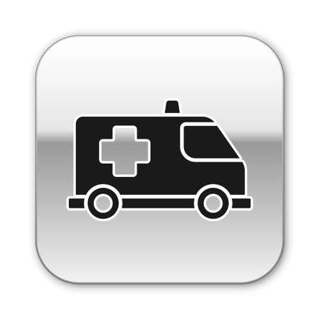Black Ambulance and emergency car icon isolated on white background. Ambulance vehicle medical evacuation. Silver square button. Vector.