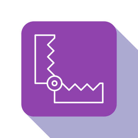 White line Trap hunting icon isolated on white background. Purple square button. Vector