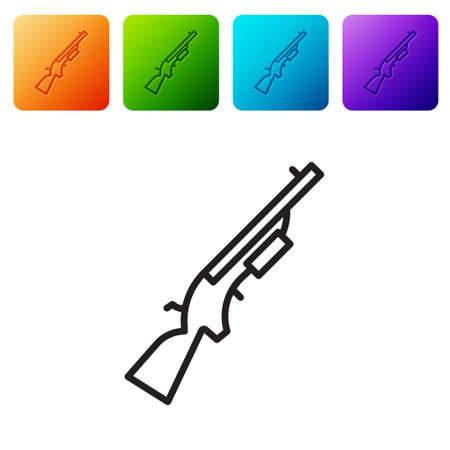 Black line Shotgun icon isolated on white background. Hunting gun. Set icons in color square buttons. Vector Ilustracja