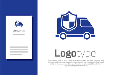 Blue Car with shield icon isolated on white background. Insurance concept. Security, safety, protection, protect concept. Logo design template element. Vector. Stock Illustratie