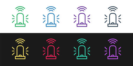 Set line Smart flasher siren system icon isolated on black and white background. Emergency flashing siren. Internet of things concept with wireless connection. Vector Illustration
