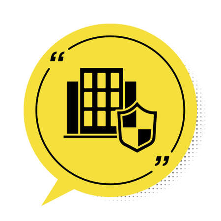 Black House with shield icon isolated on white background. Insurance concept. Security, safety, protection, protect concept. Yellow speech bubble symbol. Vector.