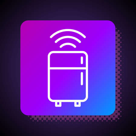 White line Smart refrigerator icon isolated on black background. Fridge freezer refrigerator. Internet of things concept with wireless connection. Square color button. Vector Stock Illustratie
