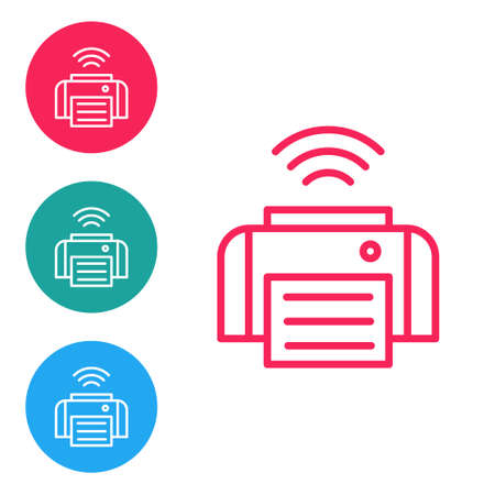 Red line Smart printer system icon isolated on white background. Internet of things concept with wireless connection. Set icons in circle buttons. Vector