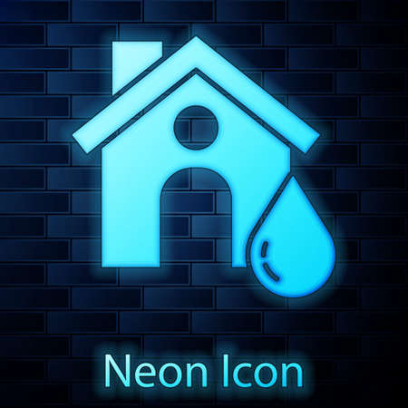 Glowing neon House flood icon isolated on brick wall background. Home flooding under water. Insurance concept. Security, safety, protection, protect concept.. Çizim