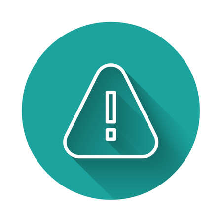 White line Exclamation mark in triangle icon isolated with long shadow. Hazard warning sign, careful, attention, danger warning sign. Green circle button. Vector
