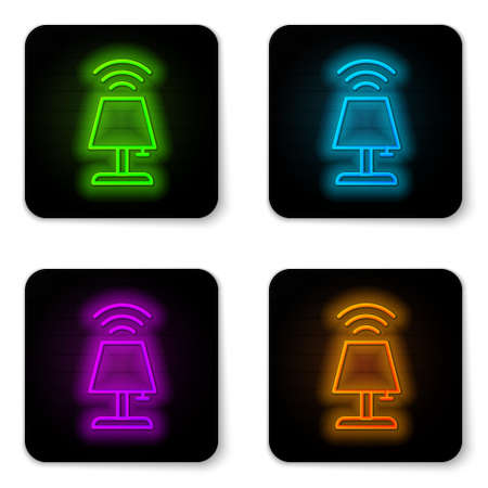 Glowing neon line Smart table lamp system icon isolated on white background. Internet of things concept with wireless connection. Black square button. Vector