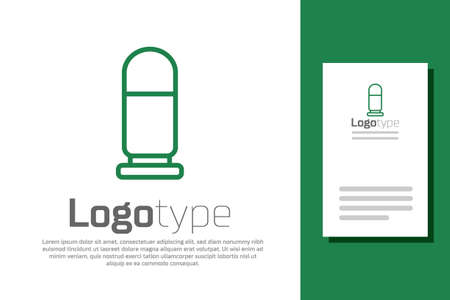 Green line Bullet icon isolated on white background. Logo design template element. Vector